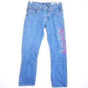 EVISU Japan embroidered straight leg jeans